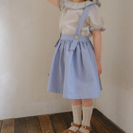 Suspender skirt / saxe denim