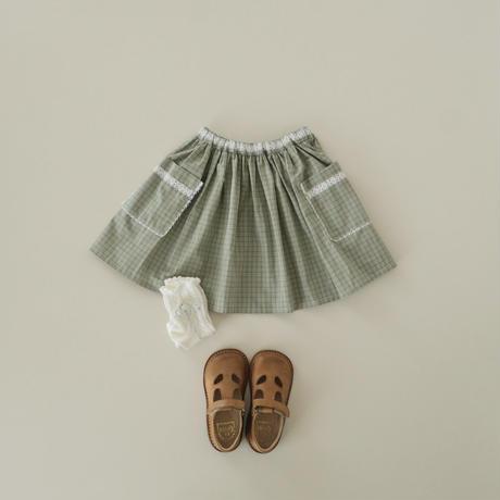 Lace gather skirt / pistachio check