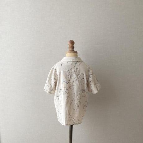 kids Open collar shirt / linen flower