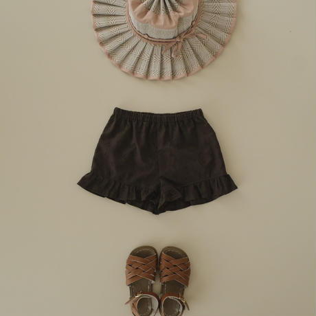 Frill pants / chacoal lace