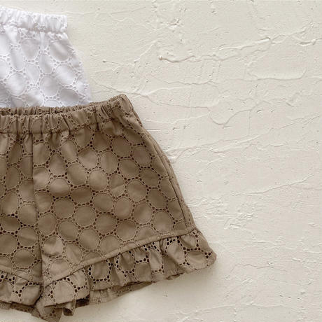 frill pants / circle lace