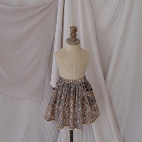 Piping gather skirt / antique green (liberty)