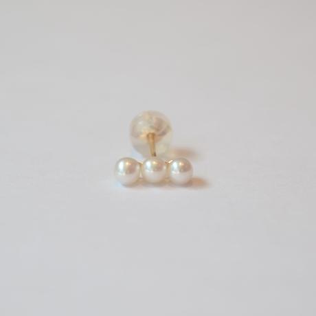 K10 three pearls single pierce
