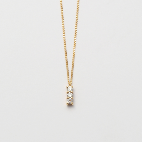 3 diamonds necklace (K10/vertical)