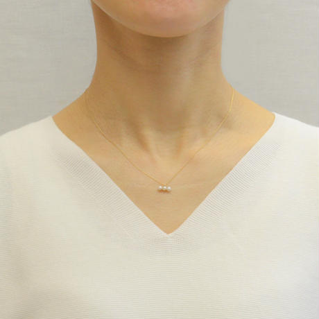 3 pearls  necklace (K10/horizontal)