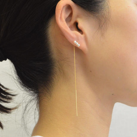 K10 three pearls American pierce