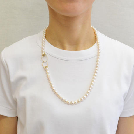 K10 ring motif pearl necklace(60cm)