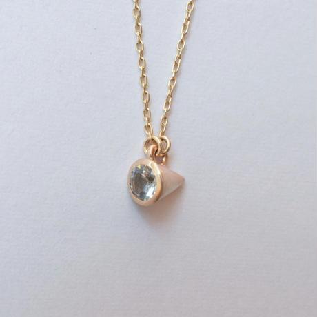 Round Aquamarine necklace (3mm / horizontal)