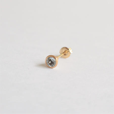 Round Aquamarine pierced earring (3mm / vertical)