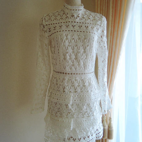white star frill dress
