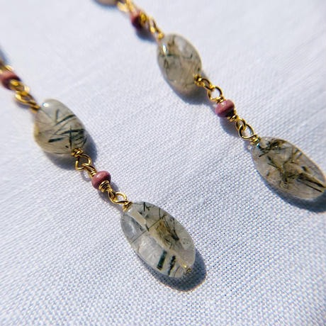 rutilated quartz × woodbeads long  pierce