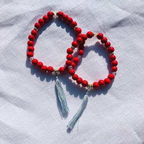 【for Mum and Girl】Red woodbeads  pair bracelet