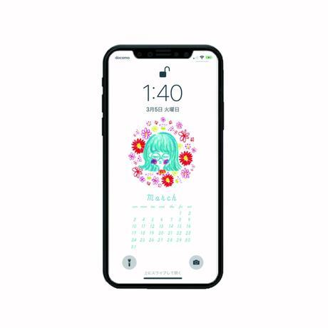 2019 March Calender 〰iphone用