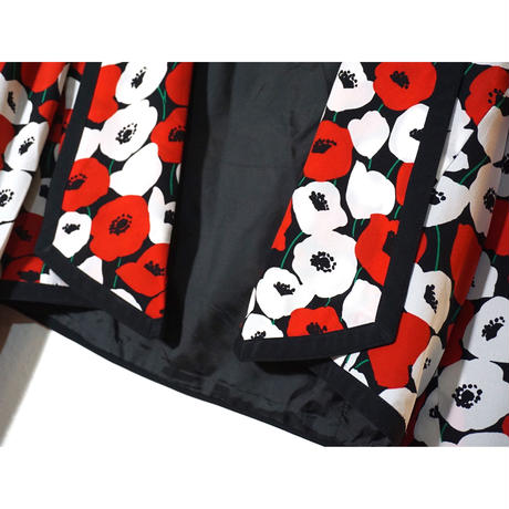 80s Red&White Poppies Silk Jacket  (no.347&348)