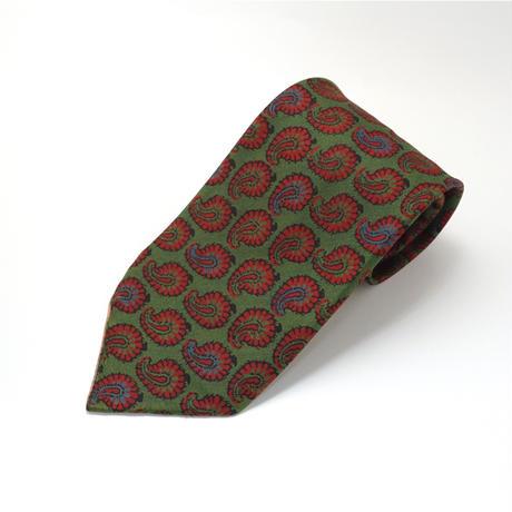 《送料無料》Vintage Silk Paisly Green Tie (no.326)