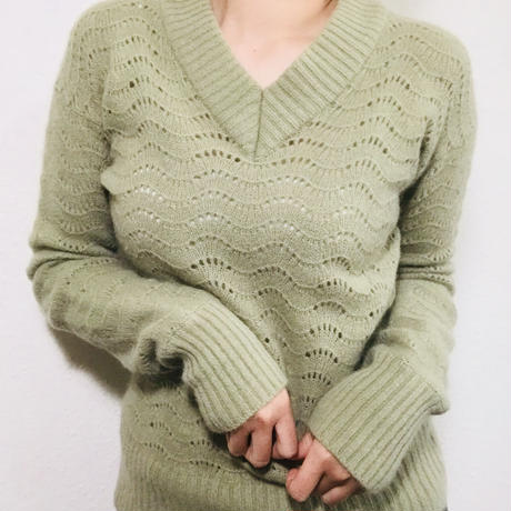 1980s Light green Wool Sweater