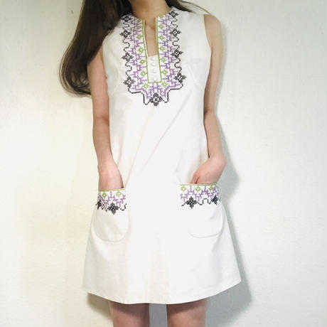 60s Cross stitch Dress White  (no.402)
