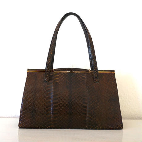 1950s Vintage Snakeskin Hnadbag Brown