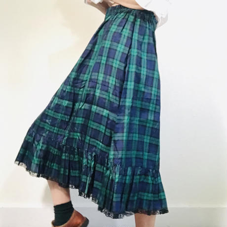 Vintage Tartan Polyester Skirt Green (no.342)