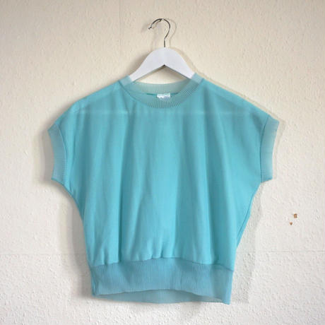 70s 80s Nyron Blouse Sky blue  (no.418)