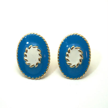 〈Costume jewelry〉60-80s  Clip-on Earrings  Turquoise blue《送料無料》