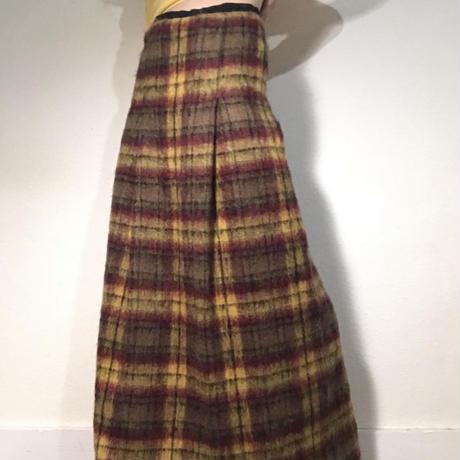 60s 70s Mohair Wool Tartan Skirt  (no.280)