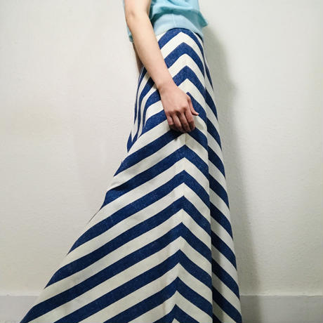 Maybe 70s Maxi-Skirt Stripe Blue white  (no.448)