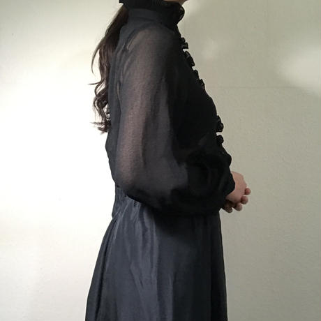 70s Blouse Black See-throuth  (no.414)