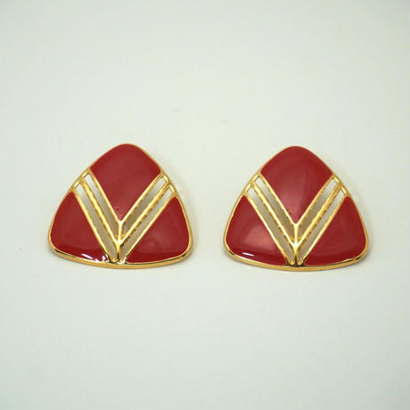 〈Costume jewelry〉60-80s  Clip-on Pierced Earrings  Red/ Gold《送料無料》