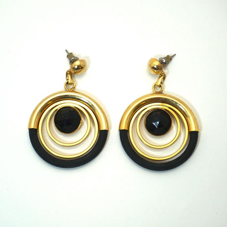 Vintage French Pierced Earrings  Black/ Gold《送料無料》
