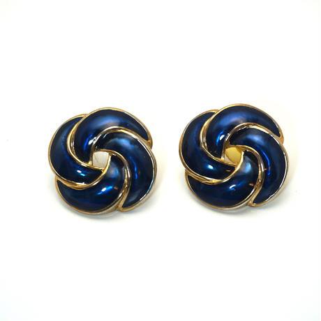 〈Costume jewelry〉60-80s  Pierced Earrings  Navy/ Gold《送料無料》