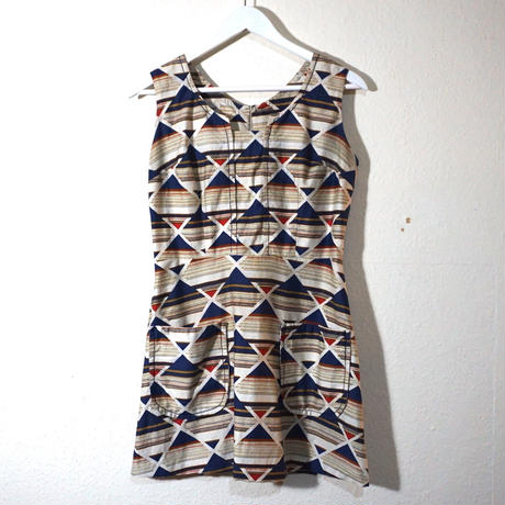 60s Multi pattern Cotton Dress  (no.384)