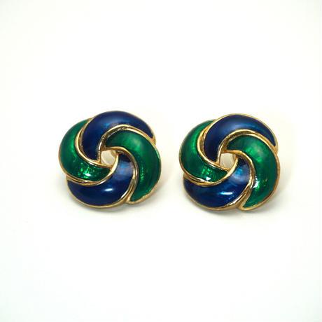 〈Costume jewelry〉60-80s  Pierced Earrings  Navy/ Green《送料無料》