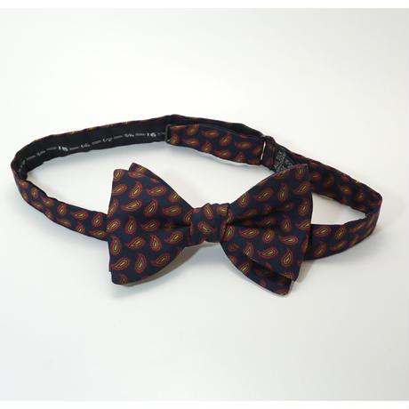 《送料無料》Vintage Paisley Navy Red Bow tie Silk   (no.307)