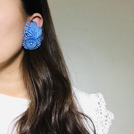 Vintage Clip-on Earrings blue《送料無料》 (no.191)