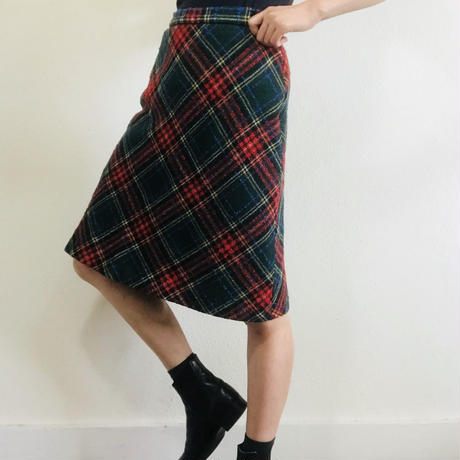 Maybe 1980s  Tartan Wool Skirt