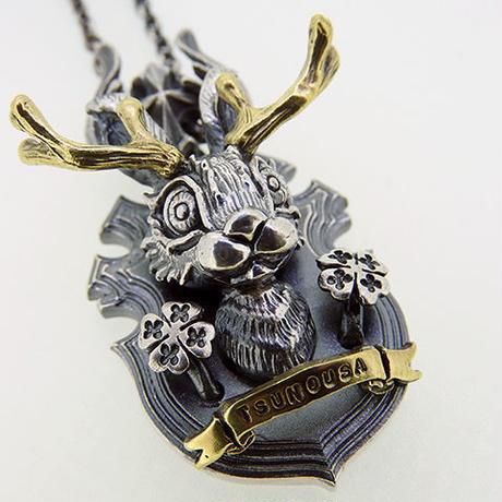 [anima-pendant]ハンティングトロフィーシリーズ  Jackalope-四つ葉のクローバー