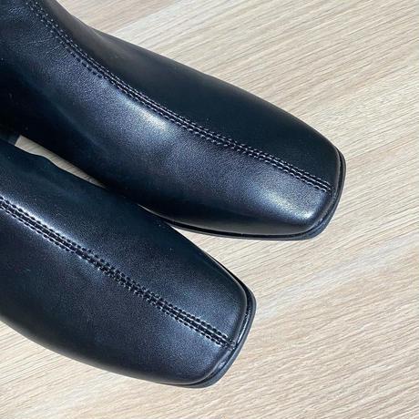 Square toe short boots/black