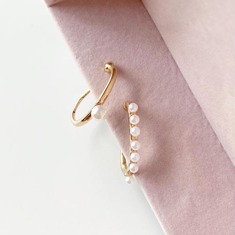 【即納】Pearl ear cuff set