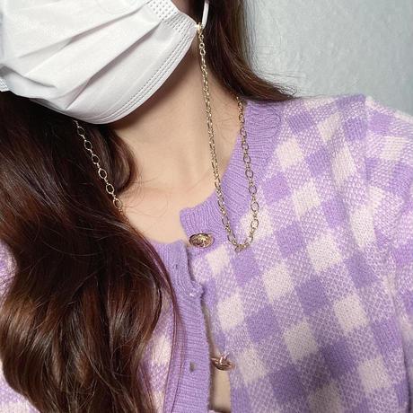 【即納】Gold chain mask necklace