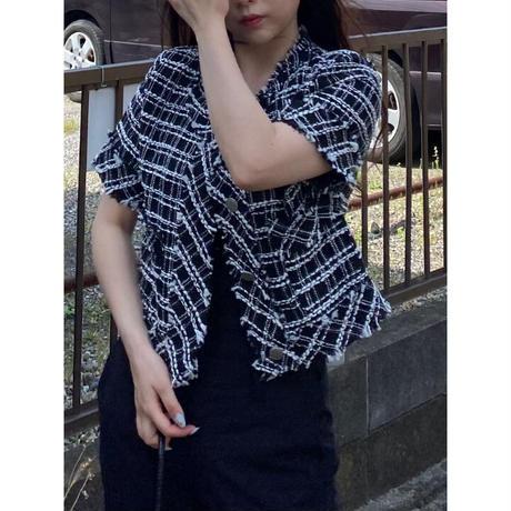 fringe tweed cardigan/Black