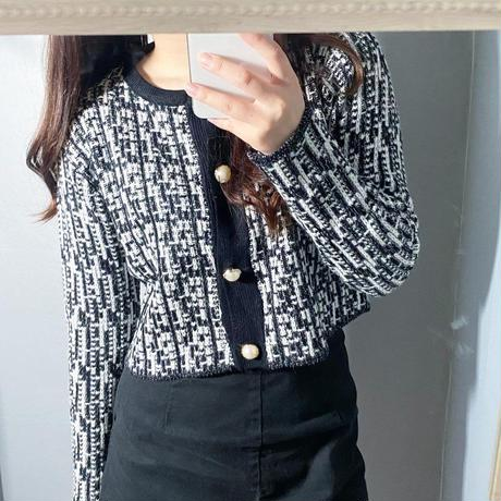 【即納】tweed cardigan/Black