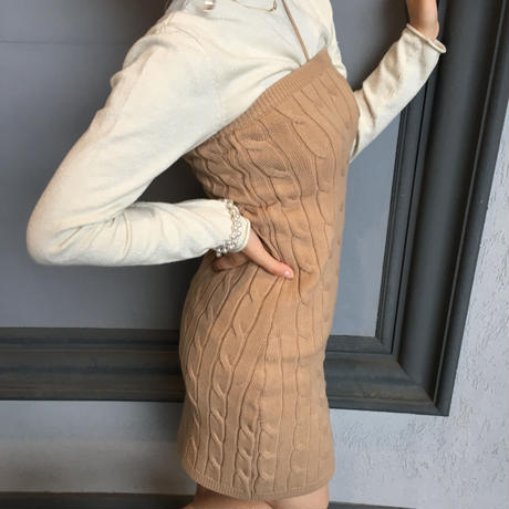 2way knit one piece,skirt/black,beige
