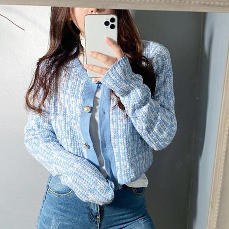 【即納】tweed cardigan/Blue