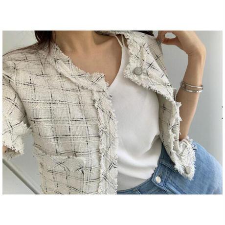 fringe tweed cardigan/White