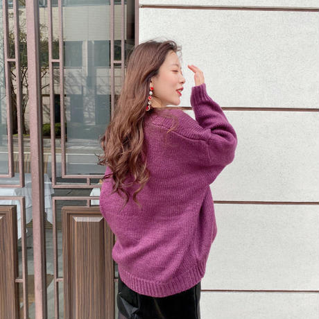 purple V-neck knit