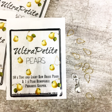[FireflyNotes] Stitch Markers  with Progress Keeper (10 Brass Pears & Pear)