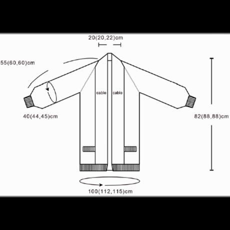 [K2tog] 翻訳編図付キット K21-047 Gown Cardigan Short version (size M-L)