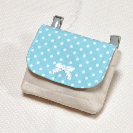 1つポケットの移動ポケット*水色水玉×リボンモチーフ