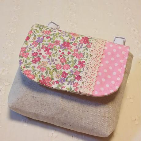 1つポケットの移動ポケット*ピンク小花柄×ドット